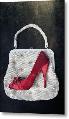 Handbag With Stiletto Metal Print by Joana Kruse