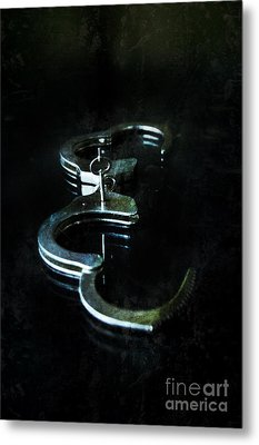 Handcuffs On Black Metal Print by Jill Battaglia