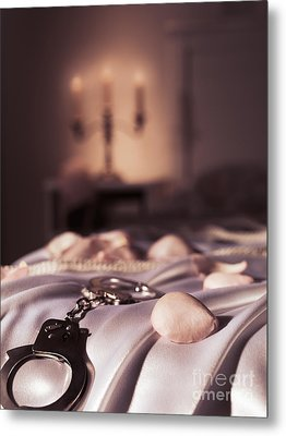 Handcuffs Ropes And Rose Petals On Bed Bdsm Sex Romantic Concept Metal Print by Oleksiy Maksymenko