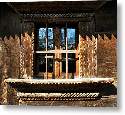 Handmade Wood Window Metal Print by Daliana Pacuraru