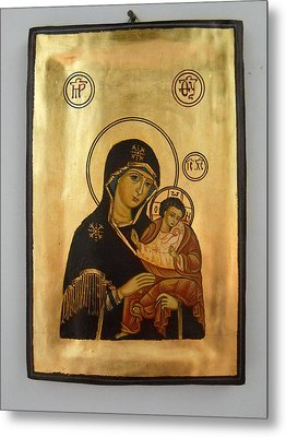 Handpainted Orthodox Holy Icon Madonna With Child Jesus Metal Print