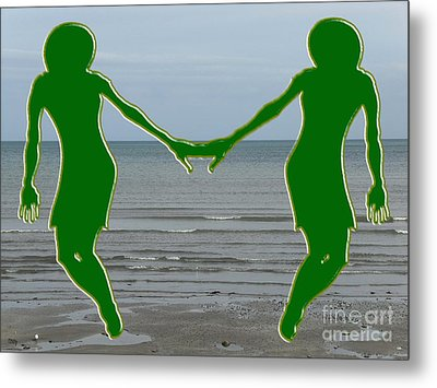 Hands Across The Ocean Metal Print