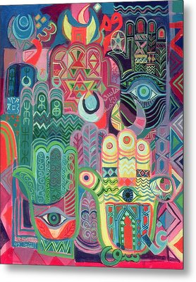 Hands As Amulets II, 1992 Acrylic On Canvas Metal Print by Laila Shawa