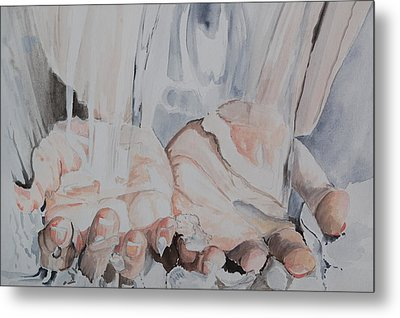 Hands In Water Metal Print