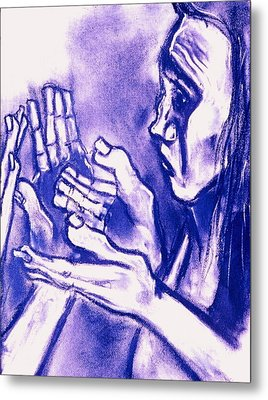 Metal Print featuring the drawing Hands Of Question by Kenneth Agnello