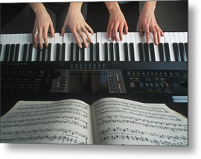 Hands On Keyboard Metal Print by Kelly Redinger