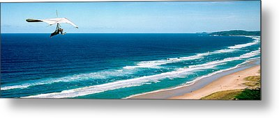 Hang Glider Over The Sea Metal Print