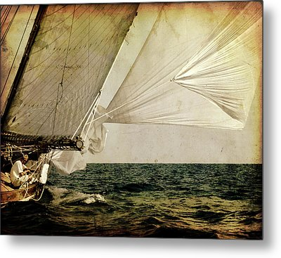 Metal Print featuring the photograph Hanged On Wind In A Mediterranean Vintage Tall Ship Race  by Pedro Cardona