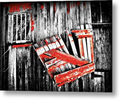 Hanging By A Few Nails Bw Metal Print by Julie Hamilton