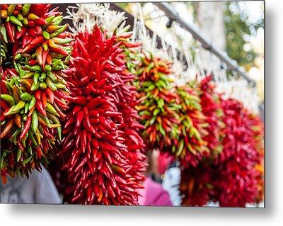 Hanging Chili Pepper Ristras At Farmers Market Metal Print by Teri Virbickis