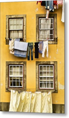 Hanging Clothes Of Old World Europe Metal Print by David Letts