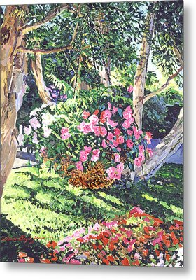 Hanging Flower Basket Metal Print by David Lloyd Glover