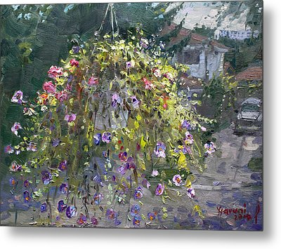 Hanging Flowers From Balcony Metal Print by Ylli Haruni