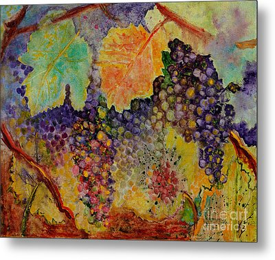 Metal Print featuring the painting Hanging by Karen Fleschler