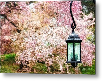 Hanging Lamp And Spring Flowers Metal Print by Nishanth Gopinathan