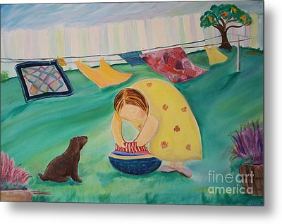 Hanging Laundry In The Summer Wind Metal Print by Teresa Hutto