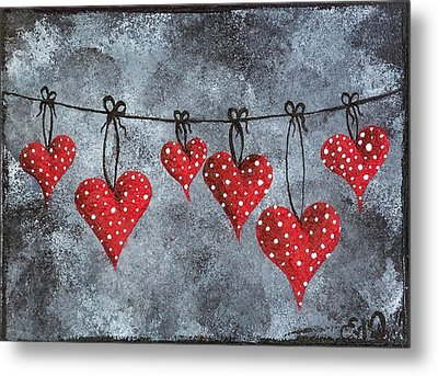 Hanging On To Love Metal Print by Oddball Art Co by Lizzy Love