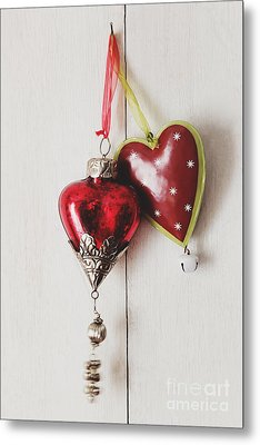Metal Print featuring the photograph Hanging Ornaments On White Background by Sandra Cunningham