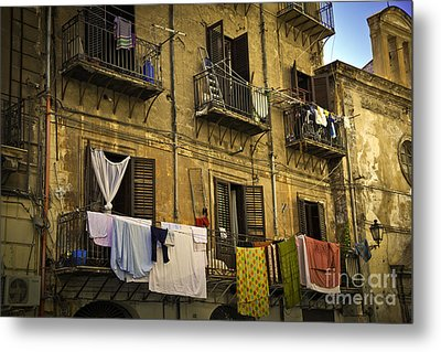 Hanging Out To Dry In Palermo  Metal Print by Madeline Ellis