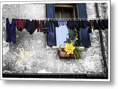Hanging Out To Dry In Venice 2 Metal Print by Madeline Ellis