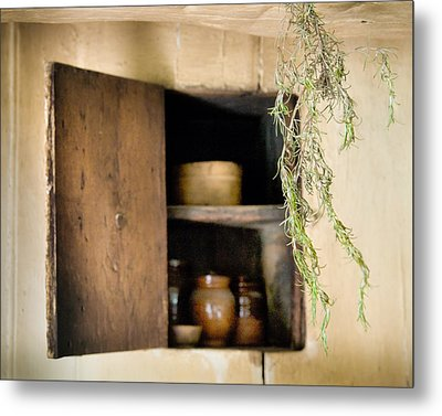 Hanging Spice And Cupboard - Rosemary - Cottage Chic Metal Print by Gary Heller
