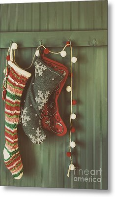 Metal Print featuring the photograph Hanging Stockings Ready For Christmas by Sandra Cunningham
