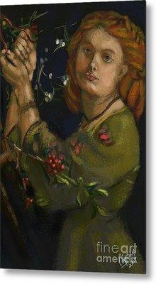 Hanging The Mistletoe Metal Print by Carrie Joy Byrnes
