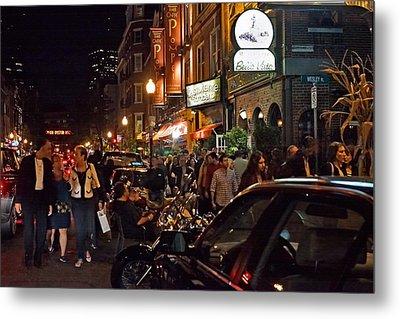 Hanover Street Nights - Boston Metal Print by Joann Vitali