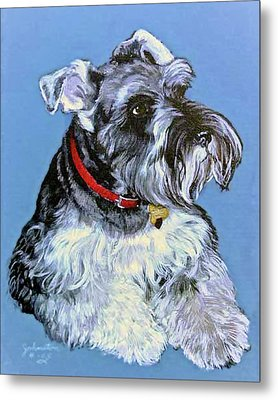 Metal Print featuring the painting Hans The Schnauzer Original Painting Forsale by Bob and Nadine Johnston