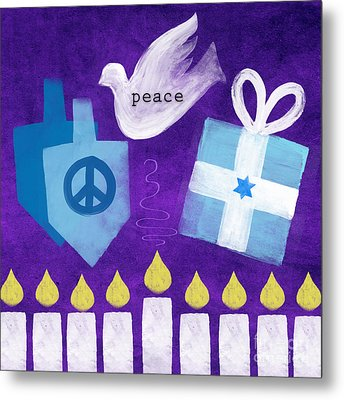 Hanukkah Peace Metal Print by Linda Woods