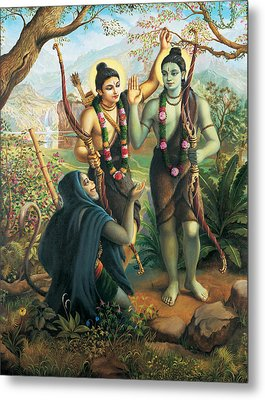 Hanuman Meeting Ram And Laxman Metal Print