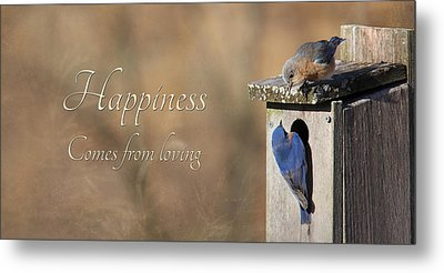 Happiness Comes From Loving Metal Print by Lori Deiter