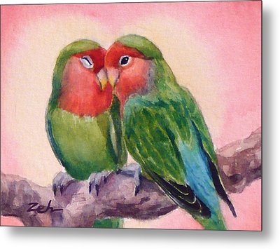 Happiness Forever Lovebirds Metal Print