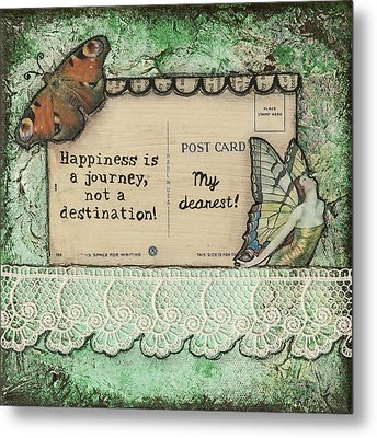 Happiness Is A Journey Inspirational Mixed Media Folk Art Metal Print