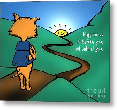 Metal Print featuring the drawing Happiness Is Before You by Pet Serrano
