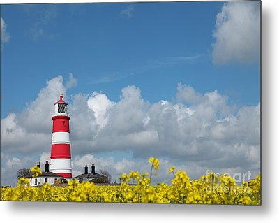 Happisburgh Lighthouse With Oil Seed Rape In Flower Metal Print by Paul Lilley