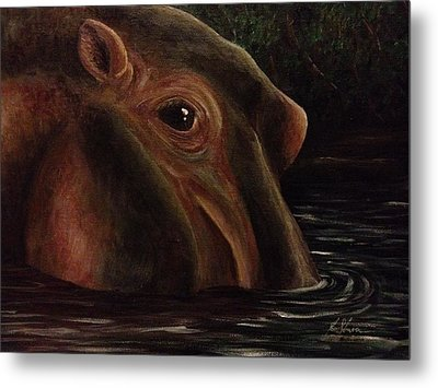 Happy As A Hippo Metal Print