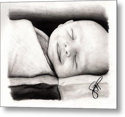 Happy Baby Metal Print by Rosalinda Markle