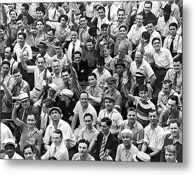 Happy Baseball Fans In The Bleachers At Yankee Stadium. Metal Print by Underwood Archives