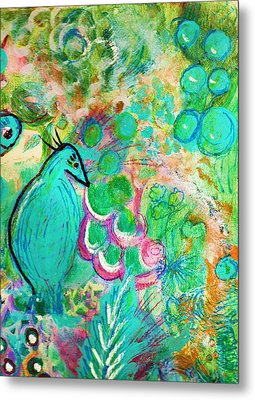 Happy Bird In Aqua Metal Print by Anne-Elizabeth Whiteway