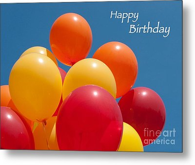 Happy Birthday Balloons Metal Print by Ann Horn
