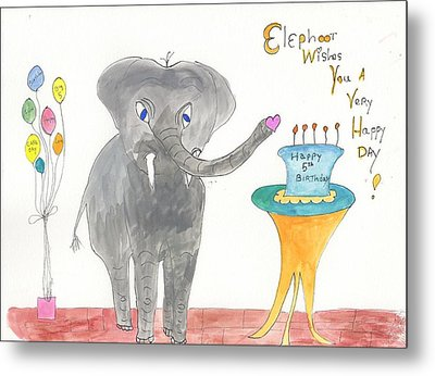 Metal Print featuring the painting Happy Birthday From Elephoot by Helen Holden-Gladsky