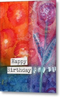 Happy Birthday- Watercolor Floral Card Metal Print by Linda Woods