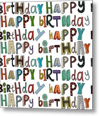 Happy Birthday White Metal Print