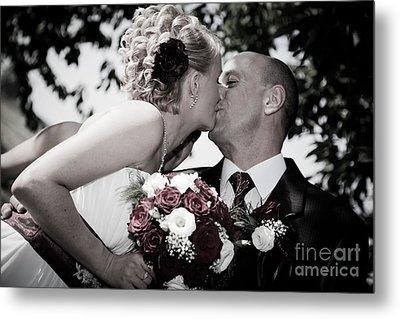 Happy Bride And Groom Kissing Metal Print by Michal Bednarek