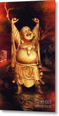 Happy Buddha Metal Print by Angela Wright