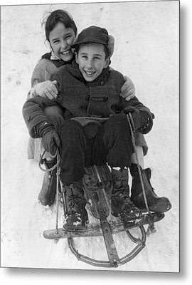 Happy Children On A Sled Metal Print