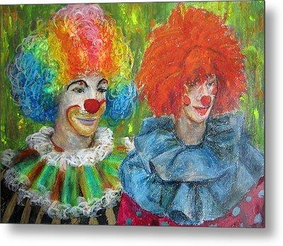 Metal Print featuring the painting Gemini Clowns by Jieming Wang