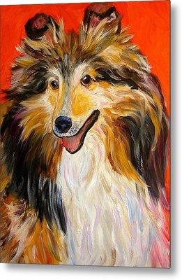 Happy Dog  --  Sheltie Metal Print