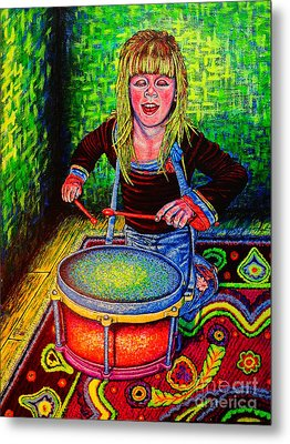 Happy Drummer Metal Print